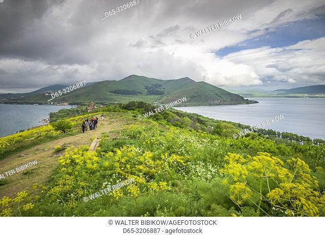 Armenia, Lake Sevan, Sevan, Lake Sevan from Sevanavank Peninsula, with visitors, NR