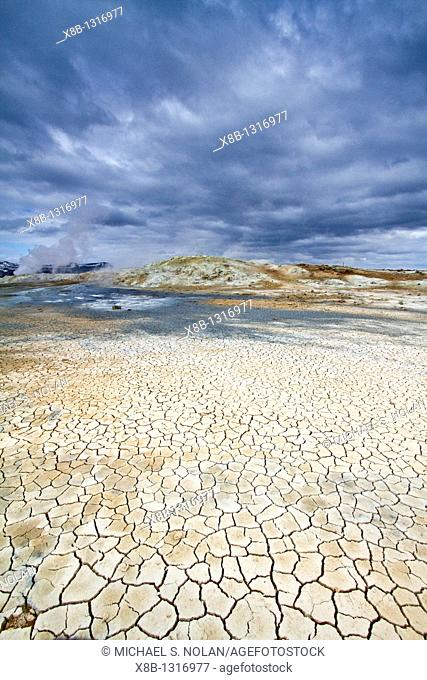 A view of the boiling mud at Námafjall, Iceland  MORE INFO This site contains many mudpots and mud pools, a sort of hot spring or fumarole consisting of a pool...