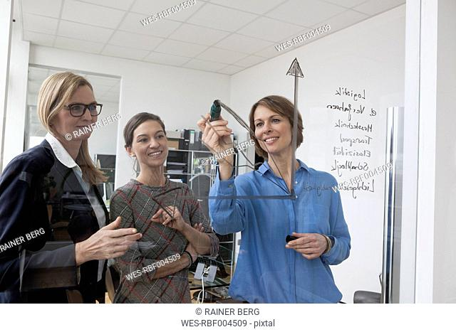 Businesswoman with two colleagues drawing diagram on glass pane in office