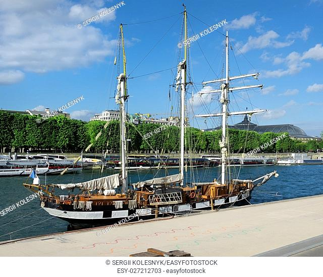 Sailing ship on Seine in Paris, France