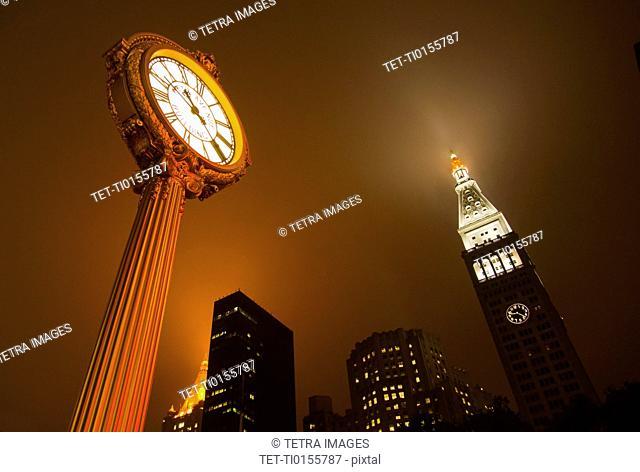USA, New York City, Clock at Madison SQ Park