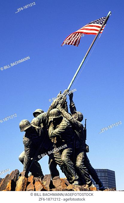 The beautiful color of the famous Marine Monument of Iwo Jima with flag in Virginia near Washington DC in the USA