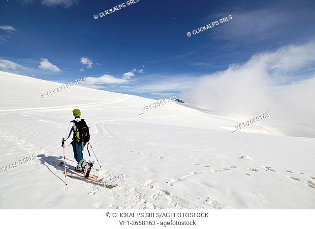 Pian mune,Po valley, Piedmont, Italy. Skier in the Po Valley