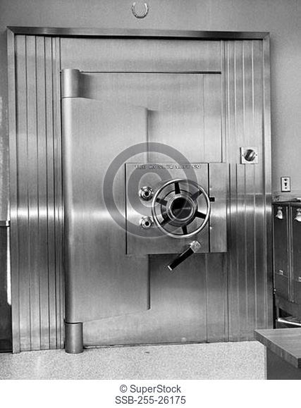 Close-up of a locked door of bank vault