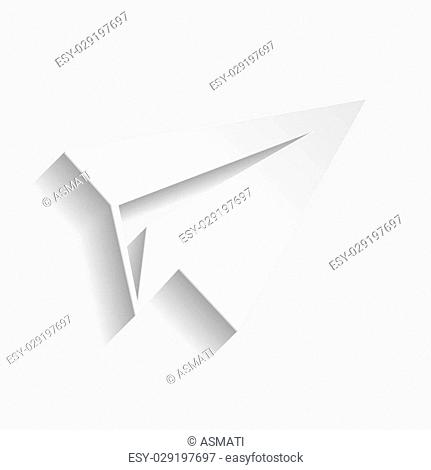 Paper airplane icon. Paper style icon with shadow on gray