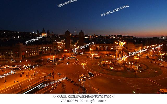 Night view of Placa Espanya - Spanish Square in Barcelona, Catalonia, Spain