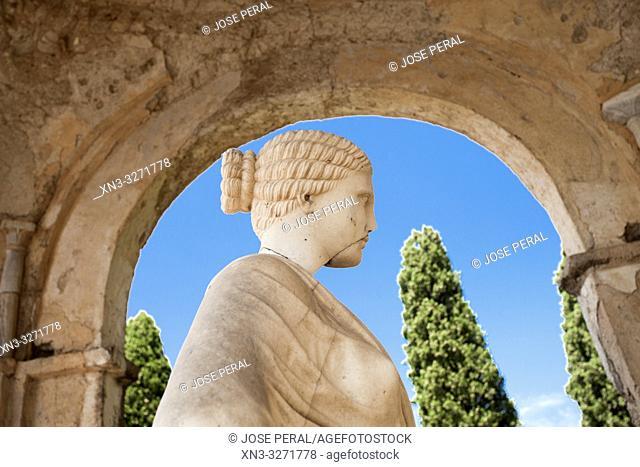The temple of Ceres Goddess, The belvedere, the so-called Terrazzo dell'lnfinito, Villa Cimbrone, Ravello, Amalfi coast, Campania, Italy, Europe
