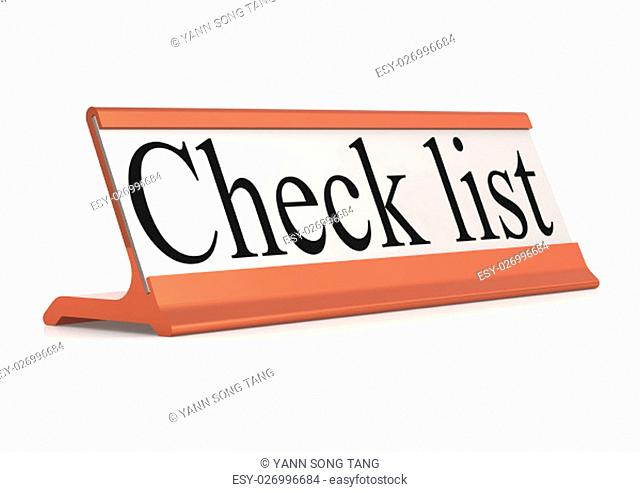 Check list table tag isolated, 3d rendering