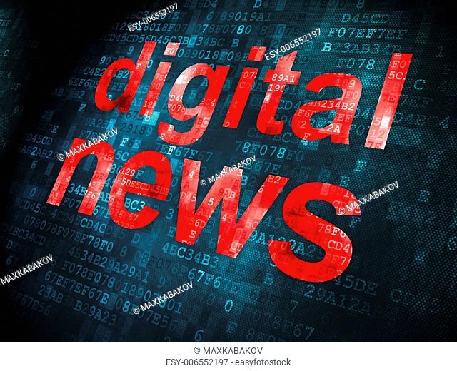 News concept: pixelated words Digital News on digital background, 3d render