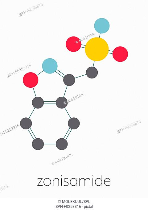 Zonisamide epilepsy drug molecule. Stylized skeletal formula (chemical structure). Atoms are shown as color-coded circles connected by thin bonds