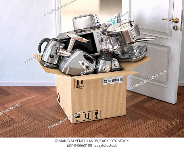 Household kitchen appliances in open cardboard box in front of open door. Delivery, e-commerce and online shopping concept. 3d illustration