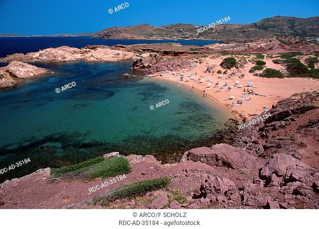 View on the bay Cala Pregonda Menorca Balearic Islands Spain