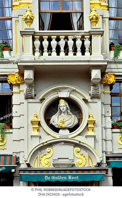 Brussels, Belgium. Grand Place: De Gulden Boot / La Chaloupe d'Or (Golden Ship) restaurant facade