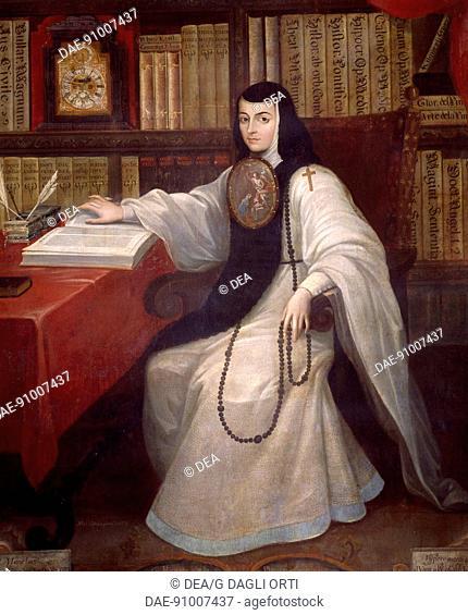 Portrait of Sister Juana Ines of De La Cruz (1651-1695) by Miguel Cabrera. Mexico, 17th century.  Citta' Del Messico, Museo Nacional De Historia