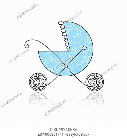 Baby buggy blue for your design