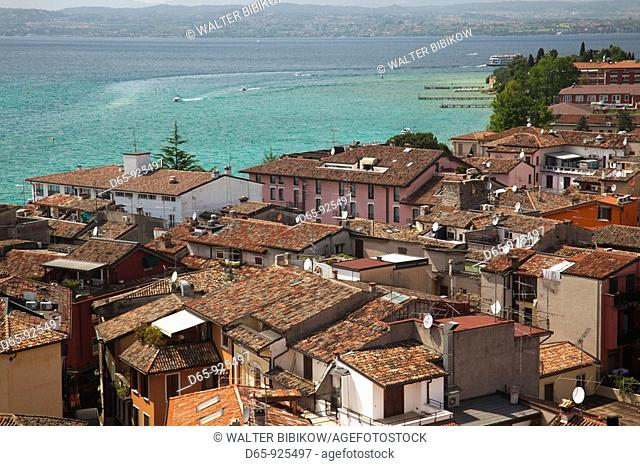 Italy, Lombardy, Lake District, Lake Garda, Sirmione, town view from Castello Scaligero, b 1250