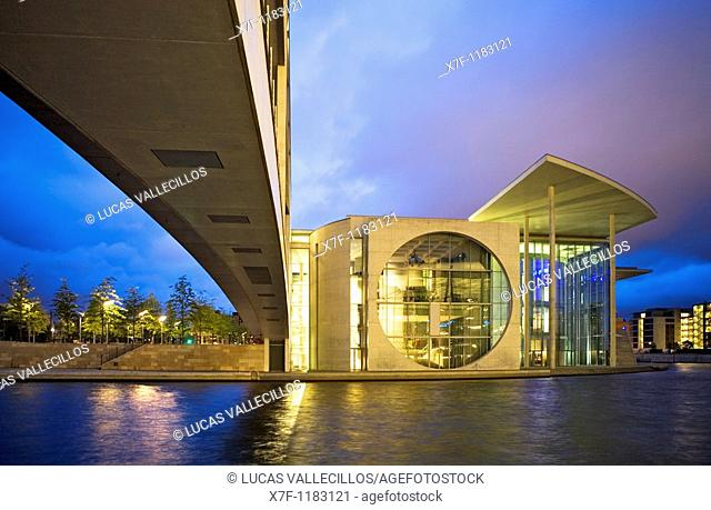 Spree River  Marie Elisabeth Lüders Haus, by Stephan Braunfels  It lodges the library and scientific services of the Bundestag Berlin  Germany
