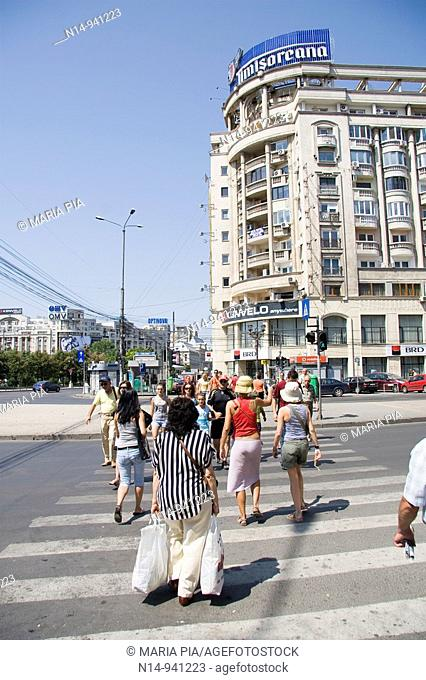 Pedestrian crossing in Bucharest, Romania