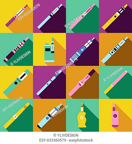 Vaping icons set in flat style. Electronic cigarette and accessories vector illustration