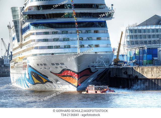 Cruise Ship AIDA Sol at HafenCity Hamburg, Germany