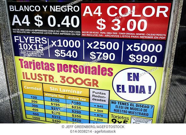 Argentina, Buenos Aires, Recoleta, print shop, signs, printing services, flyers, sign, Spanish language, price, pesos, Hispanic