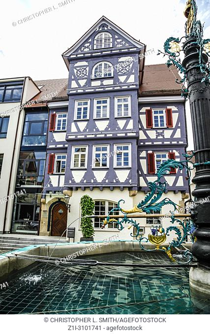 The Market Fountain outside City hall in the center of Nurtingen, SOuthern Germany