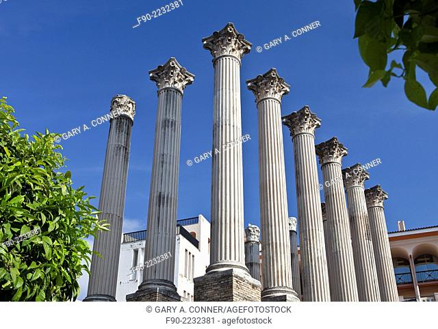 Columns of Roman Temple from 1st century AD in Cordoba, Spain
