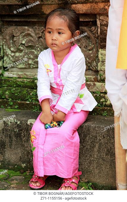 Indonesia, Bali, Mas, temple festival, little girl, odalan, Kuningan holiday