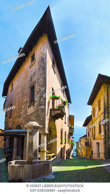 Old house in the historic old town of Cannobio, Piedmont, Italy - Lago Maggiore, Verbania, Piemont, Italy
