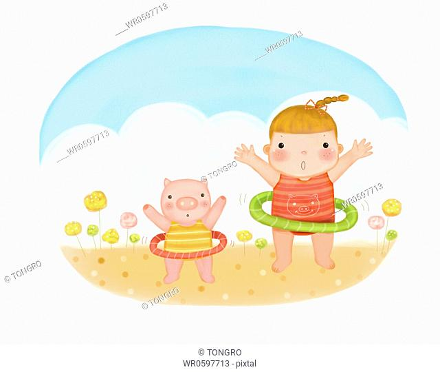 The girl and pig doing hula hoops