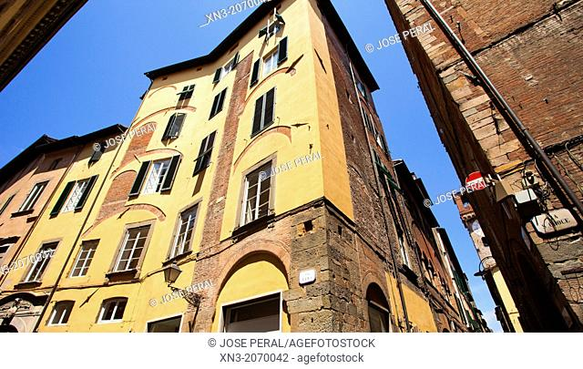 Via Roma and Via Santa Croce, Rome Street and Street St.Croce, Lucca, Tuscany, Italy, Europe