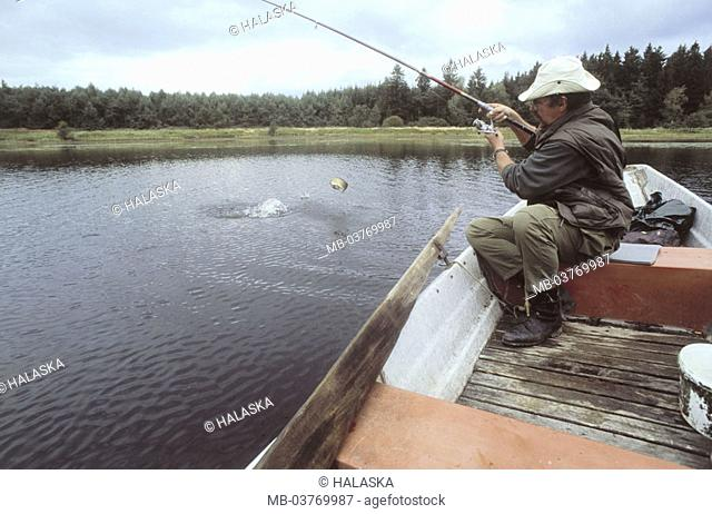 Sea, boat, man, fishing, on the side   40-50 years, anglers, fishers, sitting, fishing, haul, fishing, sport anglers, catch, fish, hobby, leisure time