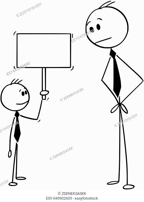 Cartoon stick drawing conceptual illustration of businessman looking at confident small boy holding empty sign. Business concept of creativity and motivation