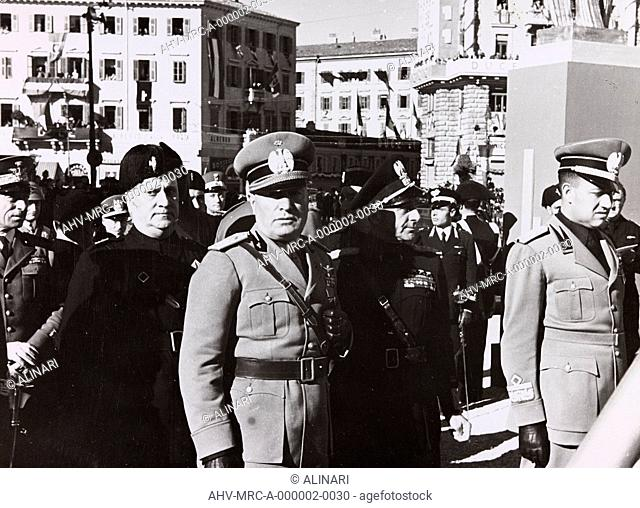 Benito Mussolini, and Galeazzo Ciano Achille Starace during an official visit to Trieste, shot 18-19/09/1938 by Demanins, F. A