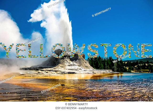Yellowstone pictures collage of different locations landmark of Yellowstone National Park, Wyoming, United States. Castle Geyser erupts with hot water and steam...
