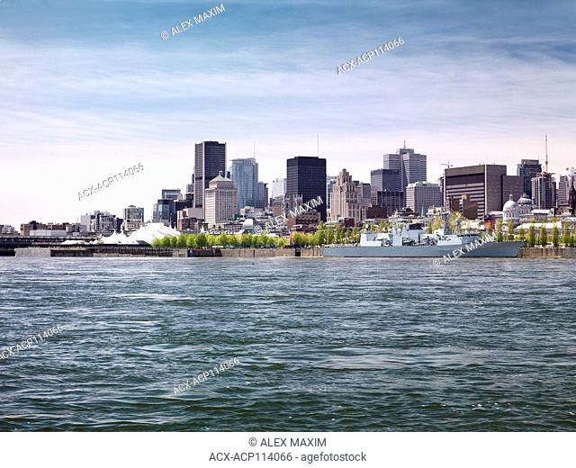 City of Montreal downtown waterfront skyline daytime scenery, Quebec, Canada. Ville de Montréal, Québec, Canada