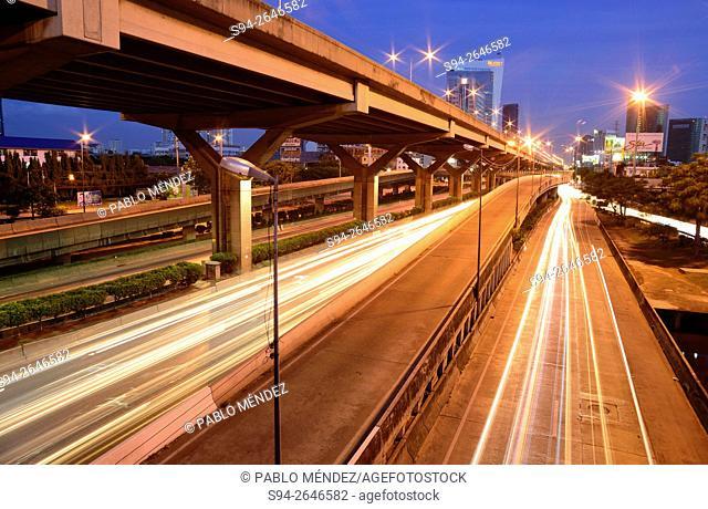 Multiple roads in Mo Chit neighborhood, Bangkok, Thailand