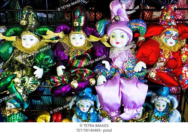 Display of mardi grass dolls