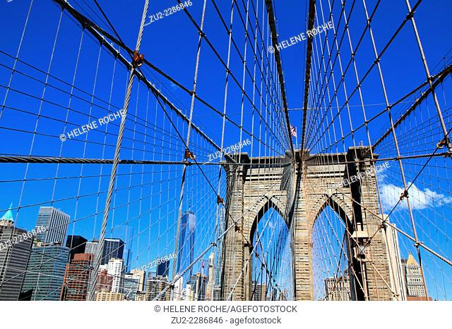 The Brooklyn bridge suspensions, New York City, USA