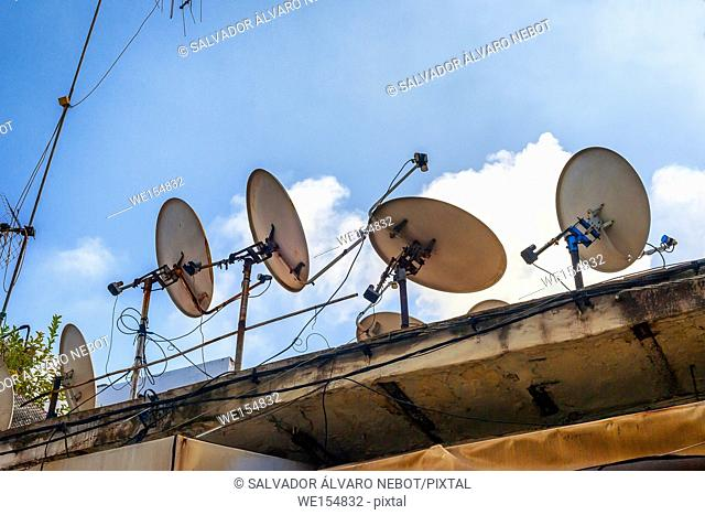 Satellite dishes in Essaouira, Morocco, Africa