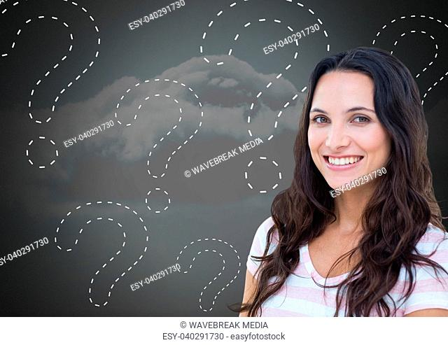 Woman thinking with dotted line question marks