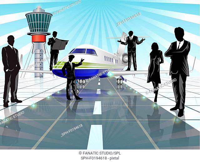 Business executives at an airport, illustration