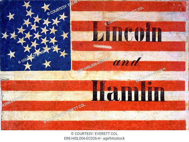 Abraham Lincoln presidential campaign banner of an American flag pattern, with thirty-one stars and Lincoln and Hamlin. 1860