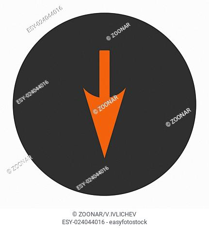 Sharp Down Arrow flat orange and gray colors round button