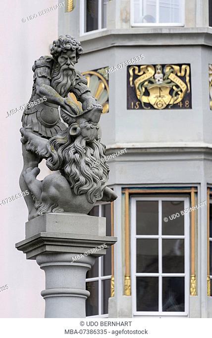 Fountain figure with a lion on the Limmatquai, old town, Zurich, Canton of Zurich, Switzerland