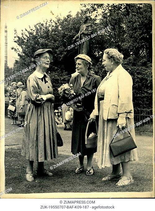 Jul. 07, 1955 - Anniversary of Mrs. Panhurst's birthday flowers laid at the statue.: Suffragettes laid flowers at the statue in Victoria Tower Gardens
