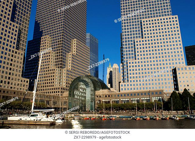 World Financial Center office buildings in the financial district of Manhattan. World Financial Center. West of the city