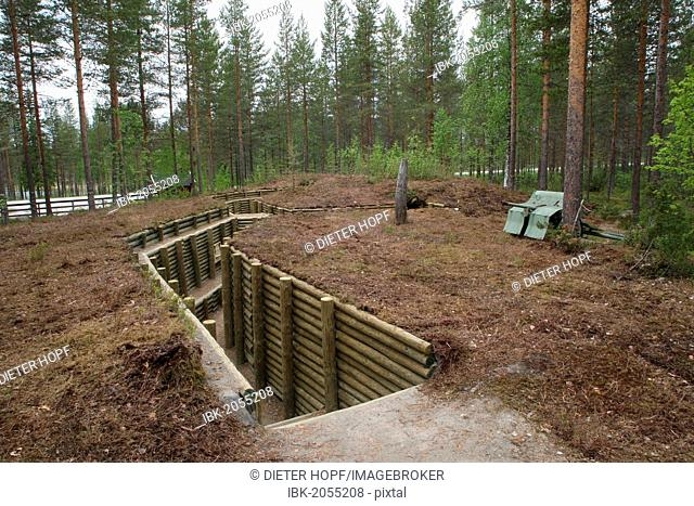 Replica of a trench from the Second World War, near Kuhmo, Finland, Europe