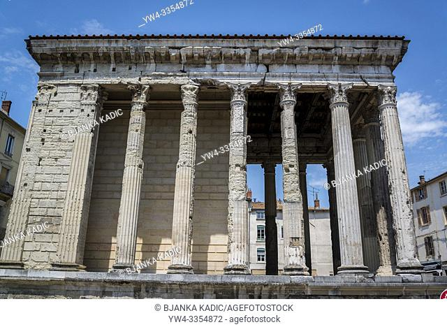 Temple of Augustus and Livia, an original Roman temple, Vienne, France
