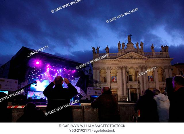 Rome, Italy. 30th April 2014 Final preparations under way for the annual May Day Concert in Piazza San Giovanni Square in Rome, Italy
